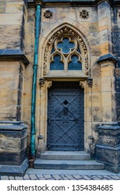 Old Door in the in the Prague Castle grounds. Czech Republic, Europe