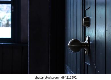 Old door and round door knob