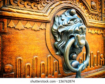 old doorknocker at a front door