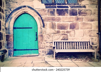 Old doors and bench in creamy pastel vintage picture.