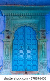 An old doorway in the famous blue city of Jodhpur, India.
