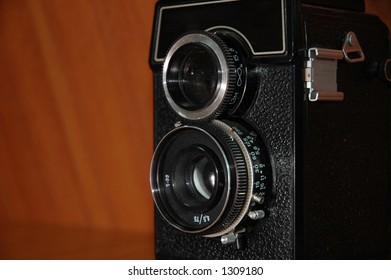 Old double lens reflex camera