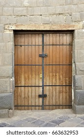 Old double vintage doorway with iron detail, Peru