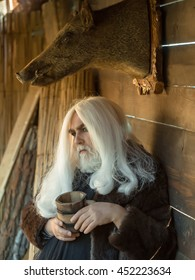 Old druid man with long silver hair and beard holds wooden mug on stuffed boar head background