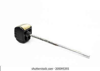 old drum pedal on white background