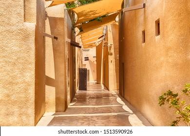 Old Dubai. Traditional Arabic streets in historical Al Fahidi district, Al Bastakiya. Dubai, United Arab Emirates
