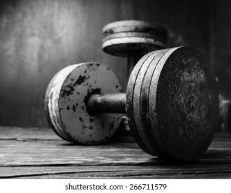 Old  dumbbells, black and white photo