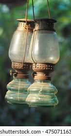 Old dusty oil lam