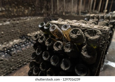 Old dusty sparkling wine bottles aging in an old winery in Republic of Moldova