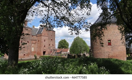Old dutch medieval castle Loevestein with at the right an old tower (the Netherlands)