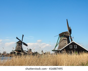 old Dutch traditional windmill at Zaanse Schans, Netherlands