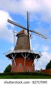 Old dutch windmill in dokkum
