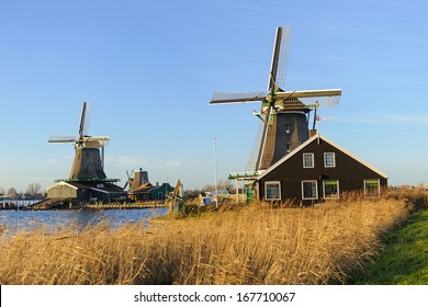 Old Dutch windmills in the evening light
