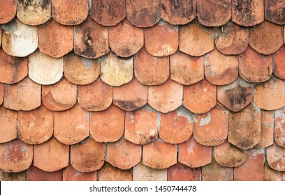 Old earthenware roof tiles texture background
