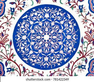 Old Eastern mosaic on the ceiling, Uzbekistan