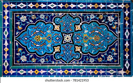 Old Eastern mosaic on the wall, Uzbekistan
