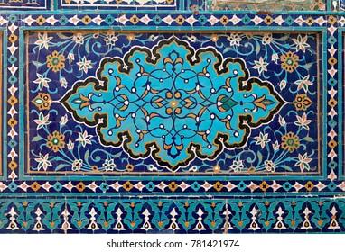 Old Eastern mosaic on the wall, Uzbekistan