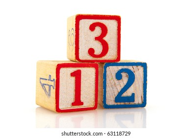 Old educational blocks with one two three
