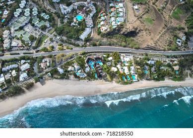 Old effect picture, aerial view on coast, Reunion Island, France
