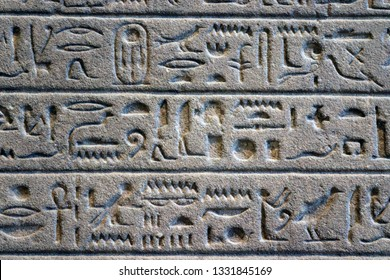 Old egypt hieroglyphs carved on the stone. Ancient letter pattern in cold grey colors