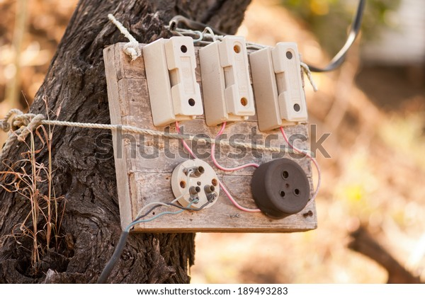 old electric fuse box on tree stock photo (edit now) 189493283 1970s fuse box old home fuse boxes wiring diagrams