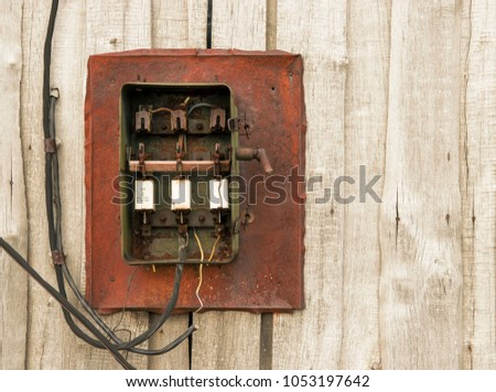 Strange Old Electric Knife Switch On Wooden Stock Photo Edit Now Wiring Digital Resources Ommitdefiancerspsorg