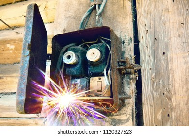Old electric power supply boxes. Industrial background. Overloaded electrical circuit causing fuse to break. Electricity short circuit, Electrical failure resulting in electricity wire burnt