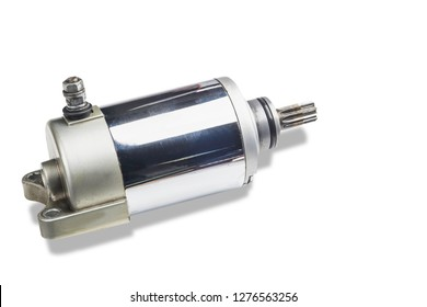 old Electric starter for motorcycle or car on white background . clipping path included.