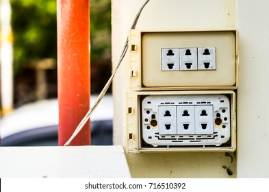 old electric switch on the walls