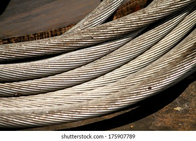 Old electrical aluminum cable in a coil
