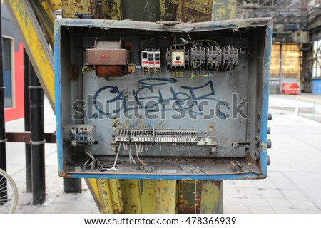 old electrical fuse box inside warehouse stock photo (edit nowold electrical fuse box inside a warehouse