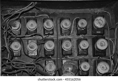 Old electrical panel, electrical box, control panel.