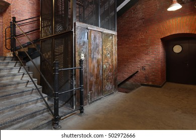 The old Elevator in an old brick building