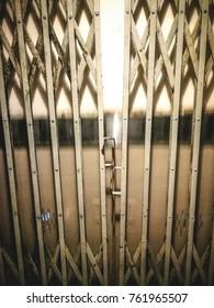 old elevator gates. closed doors