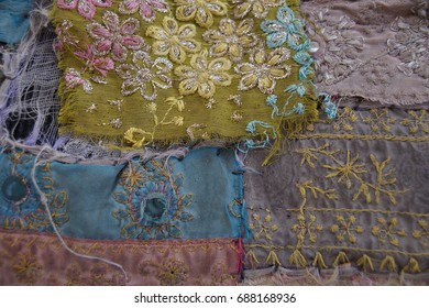 Old embroidered fabric