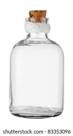 Old empty Bottle with cork isolated on white. With Clipping Path.