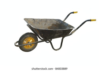 Old empty builder's wheelbarrow isolated on white background
