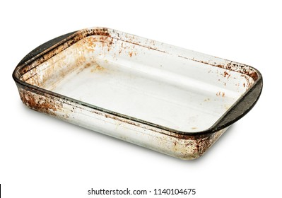 Old empty glass  baking tray isolated on white