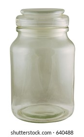 An old empty glass jar. Isolated with path.