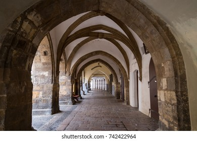 Old and empty passageway at the Old Town in Prague, Czech Republic.