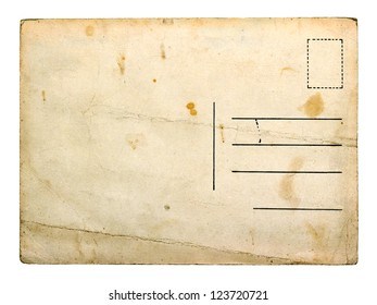 Old empty postcard isolated on white background