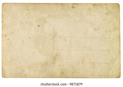 Old empty postcard isolated on white