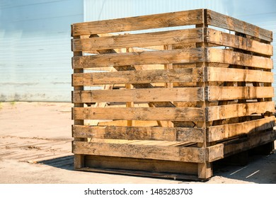 Old empty wooden crate at warehouse backyard