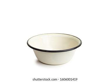 Old enamel dishe, or bowl, isolated on white background