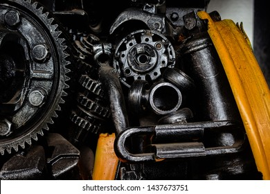 Old engine materials, steel products, production lines, industrial, metal engineering, robotics technology