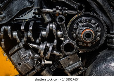 Old engine parts, steel robot design, for use in the engineering. Soft focus. Ban Hun Lek , Old Steel Art. Ang Thong Province, Thailand Date 28-06-2019