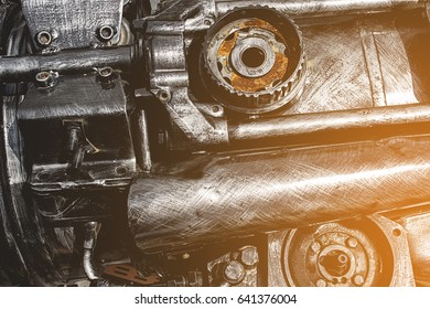 Old engine parts, steel robot design, for use in the wholesale market