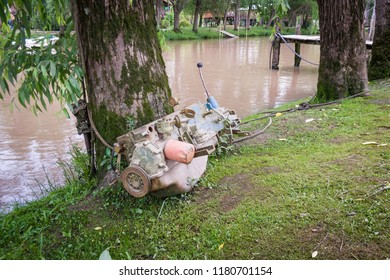 An old engine serves as a mooring in Tigre, just north of Buenos Aires Argentina, a city on a delta where there are no roads, only public canals, riverbank paths and moorings by which to navigate.