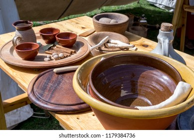 Old english kitchenware - vintage - Medieval Festival Durham United Kingdom