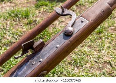 Old english rifle - vintage guns - Medieval Festival Durham United Kingdom